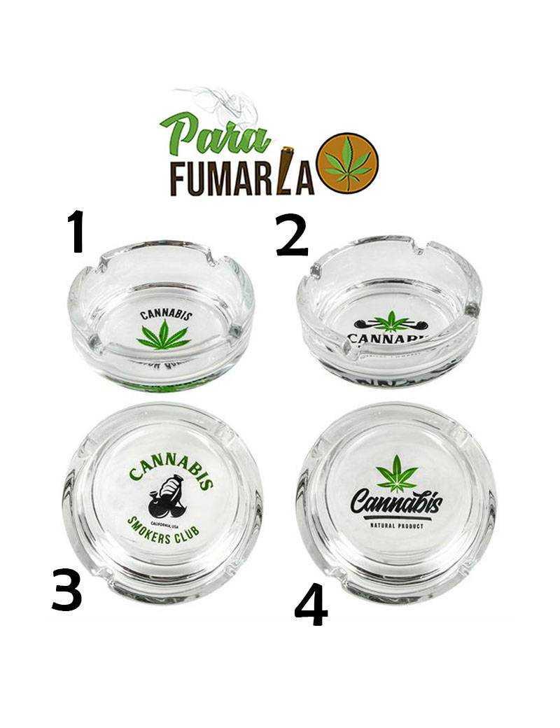 Cenicero de cristal redondo cannabis