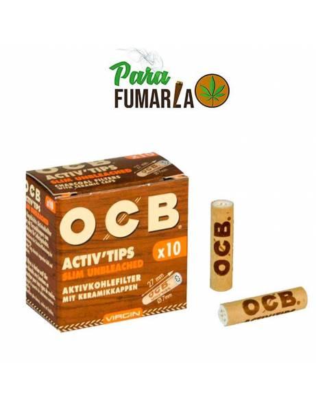 10 Filtros OCB activ tips Slim marrones.