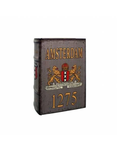 """Libro madera """"amsterdam 1275"""" ocultación."""
