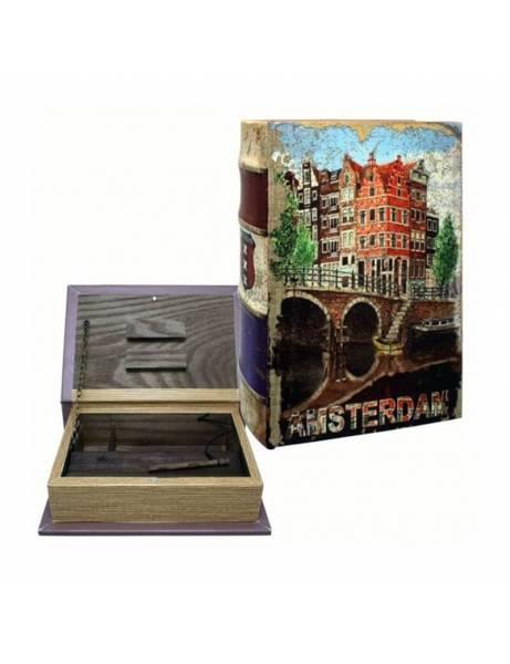 """Libro madera """"Amsterdam ciudad"""" ocultación"""
